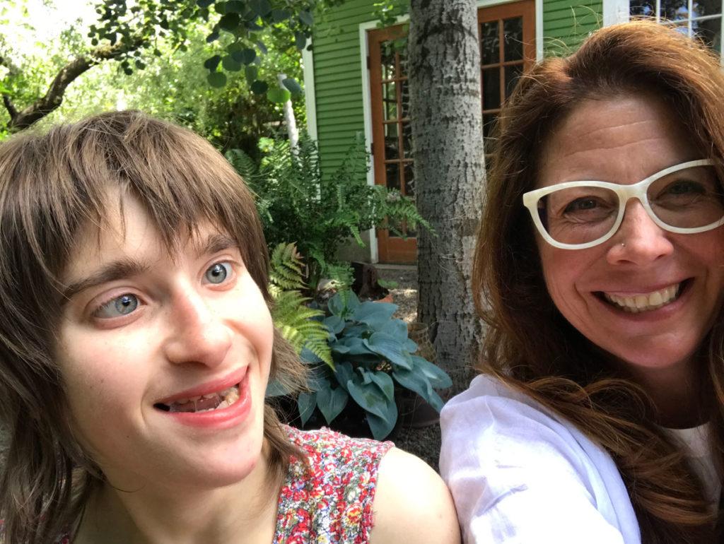 Neva and Alicia in the backyard